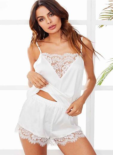 Merry See  Dantel Işlemeli Saten Şortlu Pijama Takım Beyaz